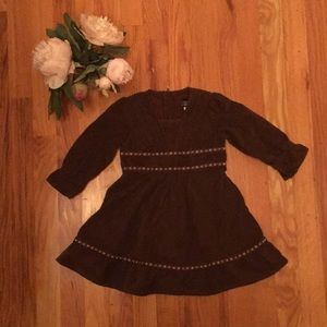 Brown corduroy peasant dress with floral accents